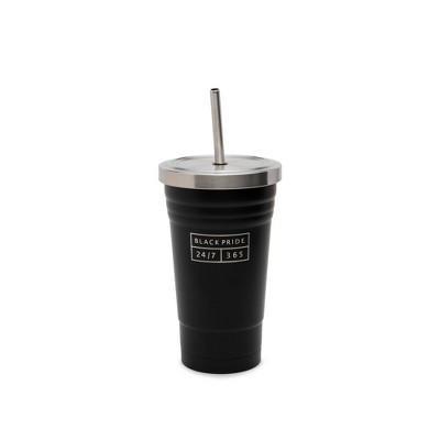 Stainless Steel Tumbler with Straw 17oz Black Pride - DesignWorks Ink