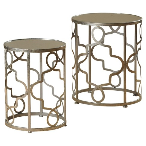 Set of 2 Round Metal Accent Tables with Mirrored Tops - Antique Silver - Stylecraft - image 1 of 1