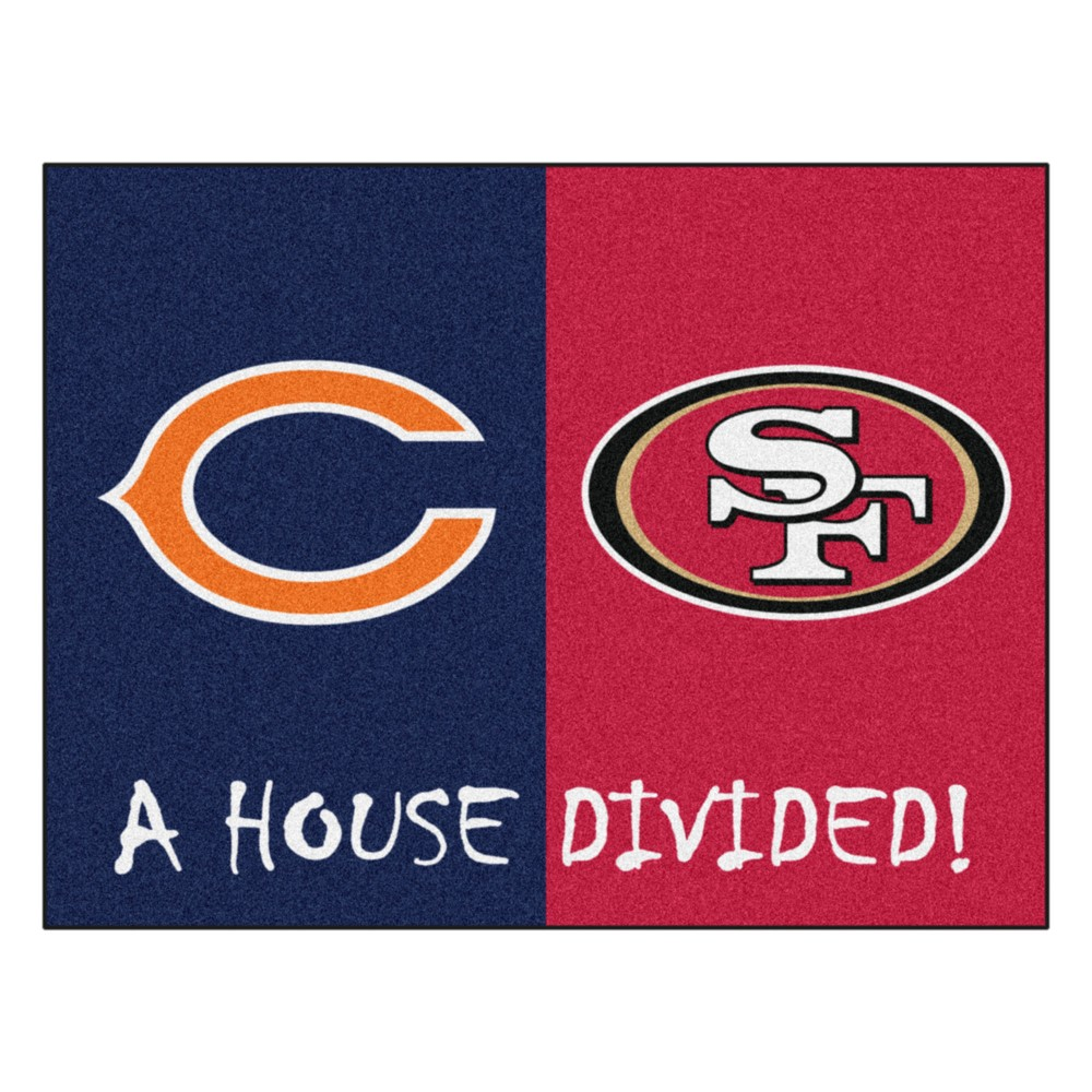 NFL Chicago Bears/San Francisco 49ers House Divided Rug 33.75