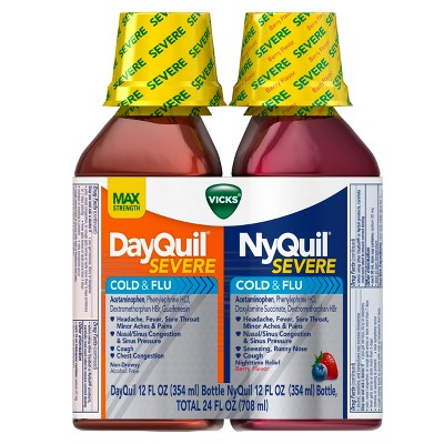 Vicks DayQuil and NyQuil Severe Cold & Flu Relief Liquid - 12oz/2pk