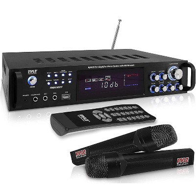 Pyle PWMA3003BT.NEW Powerful 3000 Watt 4 Channel Bluetooth Hybrid Amplifier Receiver with 2 Battery Powered Handheld Microphones and Remote Control