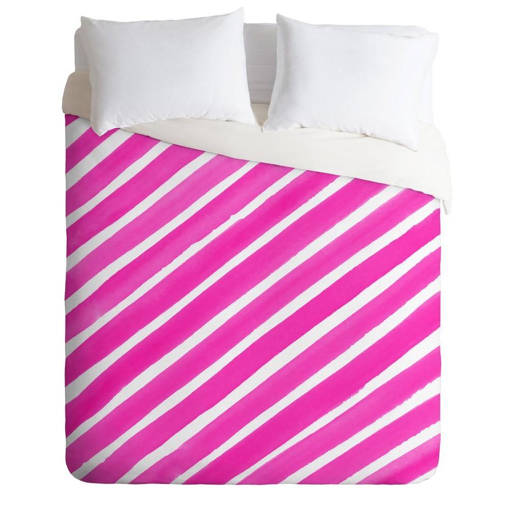 King Rebecca Allen Pretty In Stripes Duvet Set Pink - Deny Designs