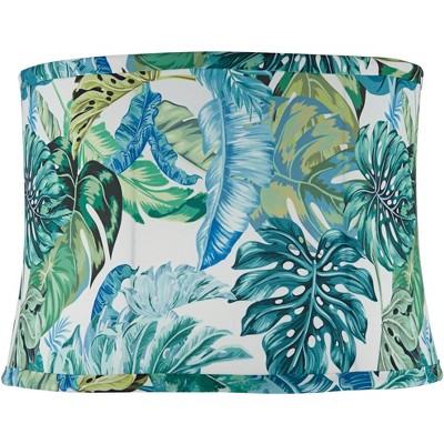 Springcrest Branco Green Tropical Leaf Drum Lamp Shade 13x14x10 (Spider)