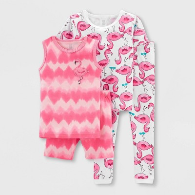 Toddler Girls' 4pc Flamingo Pajama Set - Just One You® made by carter's Pink/White