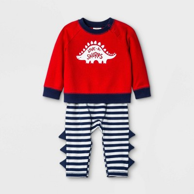 Baby Love-a-Saurus Top & Bottom Set - Cat & Jack™ Red Newborn