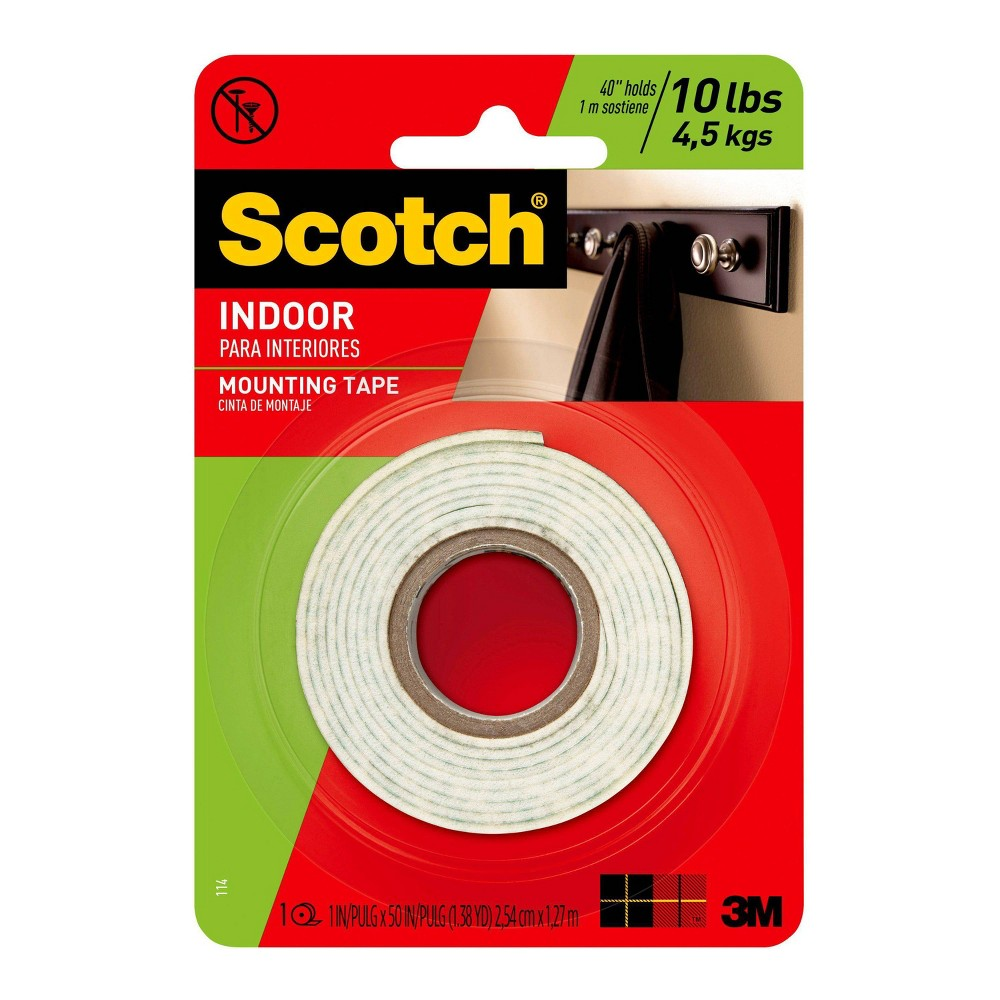 "Image of ""Scotch Permanent Mounting Tape, 1"""" x 50"""" - 1ct, White"""