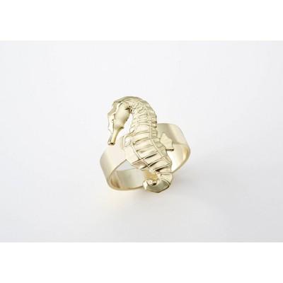 8ct Seahorse Napkin Ring Gold