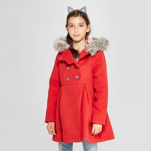 b2b666830b4 Girls  Long Faux Wool Fur Hood Jacket - Cat   Jack™ Red   Target