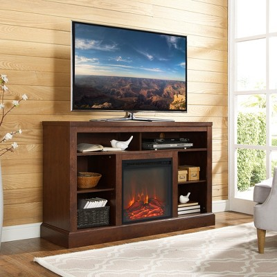 52  Highboy TV Console with Open Storage - Traditional Brown - Saracina Home