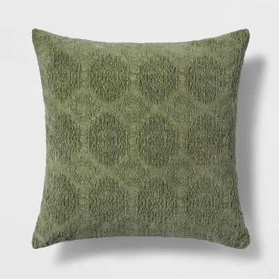 Washed Chenille Square Throw Pillow Green - Threshold™