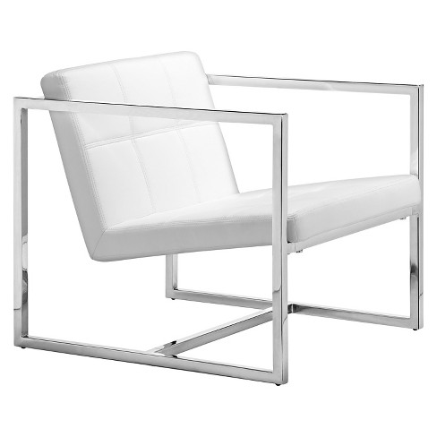 Tufted Faux Leather And Chrome Steel Accent Chair White Zm Home