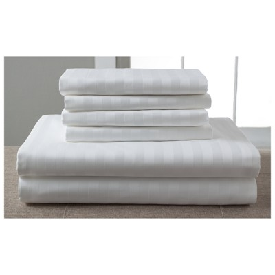 Luxury Estate Woven Stripe 1200 Thread Count Cotton Sheet Set (King)White - Elite Home Products