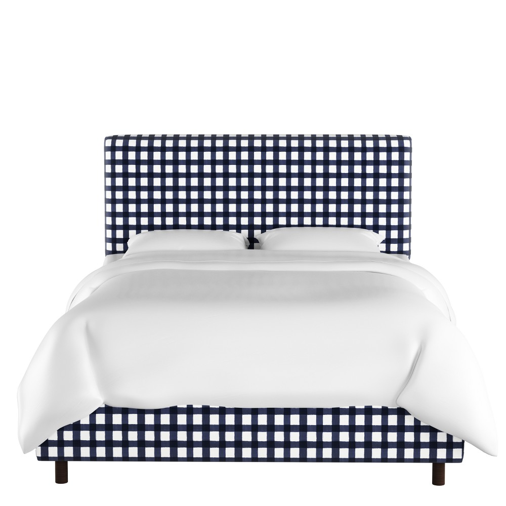 Full Olivia Upholstered Bed Blue Check - Cloth & Co.