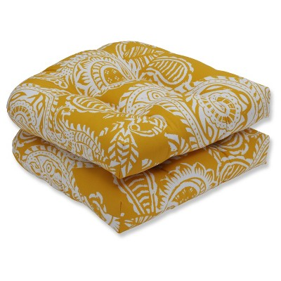 Outdoor/Indoor Addie Yellow Wicker Seat Cushion Set of 2 - Pillow Perfect