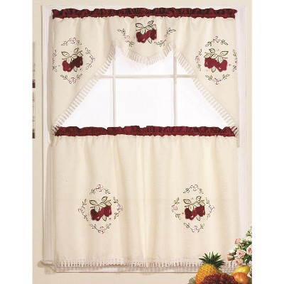 Ramallah Trading Red Apple Jubilee Kitchen Curtain Set - 60 x 36, Red