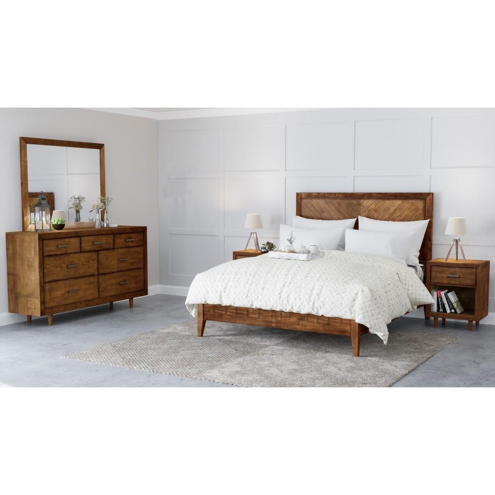 Surprising 5Pc Aurora Mid Century Bedroom Set King Brown Abbyson Living Bralicious Painted Fabric Chair Ideas Braliciousco
