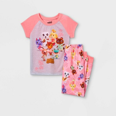 Girls' Animal Crossing 'Animal Friends' 2pc Pajama Set - Pink