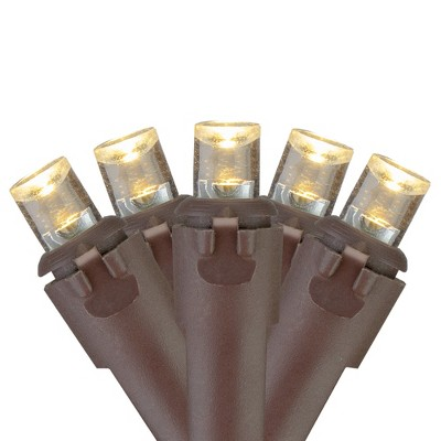 Brite Star 70 Warm White LED Wide Angle Icicle Christmas Lights - 6ft Brown Wire