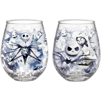 Silver Buffalo Nightmare Before Christmas Ink Blot 2 Piece 20oz Stemless Wine Glass Set