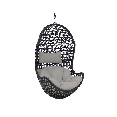 Cordelia Resin Wicker Hanging Egg Chair with Gray Cushions - Sunnydaze Decor