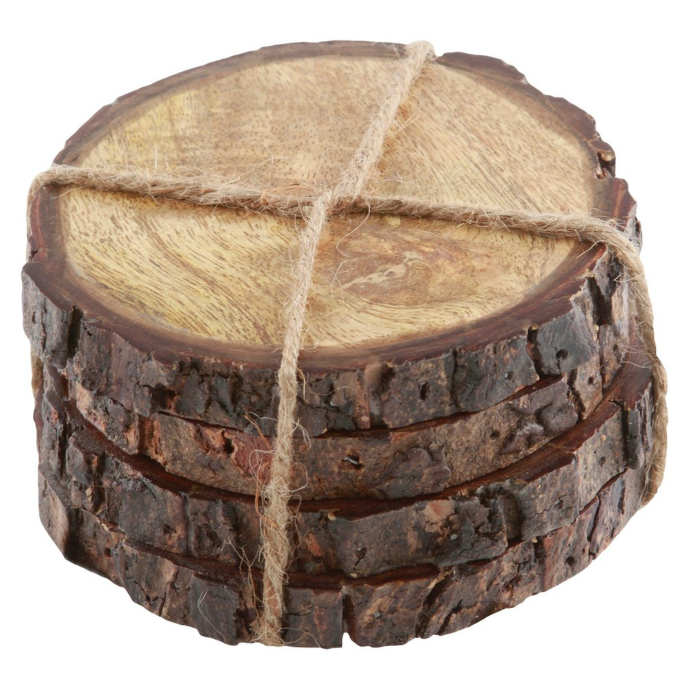 Image of Thirstystone Round Bark-Edged Coasters, Brown