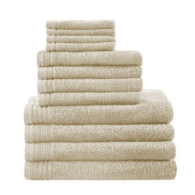 12pc Big Bundle Cotton Bath Towel Set Taupe