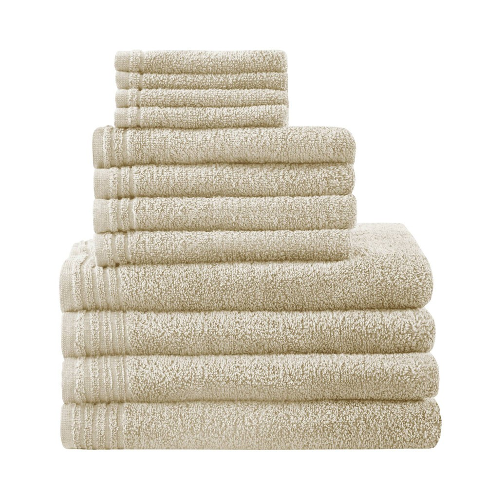 Image of 12pc Big Bundle Cotton Bath Towel Set Taupe, Brown