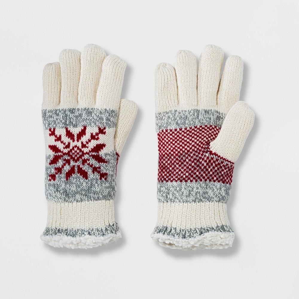 Isotoner Women's SmartDRI Snowflake Knit Sherpasoft Spill Gloves - Ivory/Red/Gray