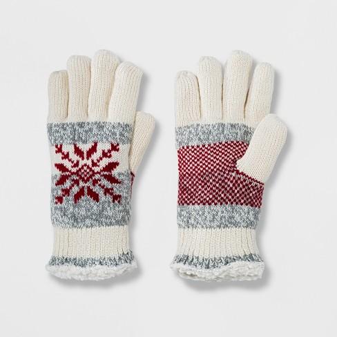 d2882200e Isotoner Women's SmartDRI Snowflake Knit Sherpasoft Spill Gloves : Target