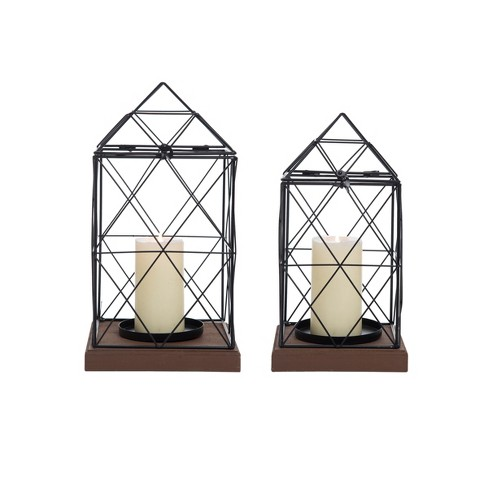 Set of 2 Geometric Black Metal Wire and Wood Pillar Candle Holder Lantern  - Foreside Home & Garden - image 1 of 4
