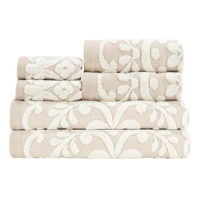 6pc Emma Sesame Towel Set Ivory - Caro Home