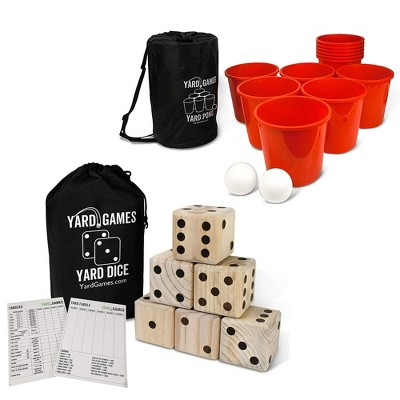 Yard Games Giant Outdoor Wooden Dice Set of 6 Bundle with Yard Pong Activity Party Set with 12 Buckets, 2 Balls, and Carrying Case