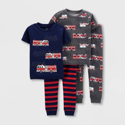 Baby Boys' 4pc Firetruck Snug Fit Pajama Set - Just One You® made by carter's Navy/Red 12M
