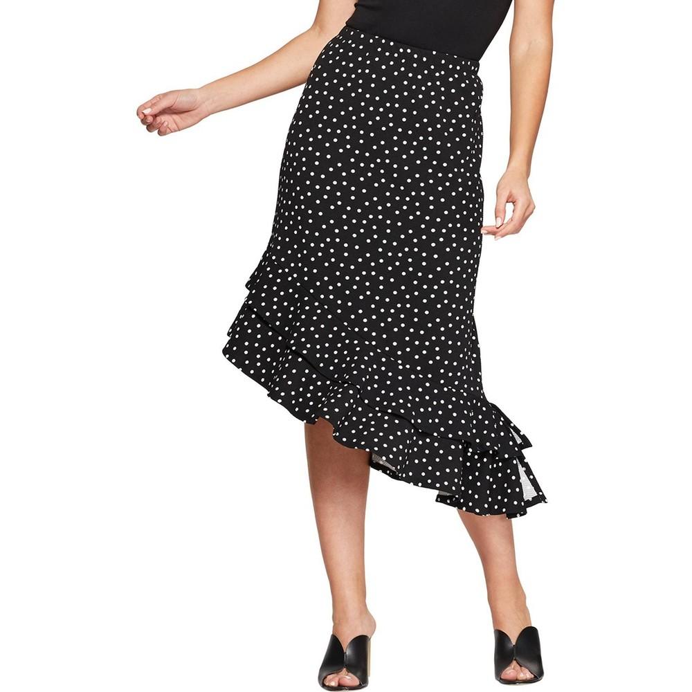 Image of Women's Floral Print Asymmetrical Ruffle Hem Skirt - Loramendi - Black L, Size: Large