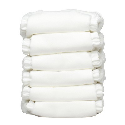 Charlie Banana Reusable All-in-One Diaper White - 6pk