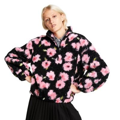 Women's Floral Print Sherpa Jacket - Sandy Liang x Target Black/Pink