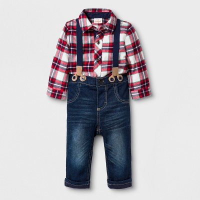Baby Boys' 2pc Flannel Button-Down Collard Bodysuit and Jeans with Suspenders Set - Cat & Jack™ Red 3-6M
