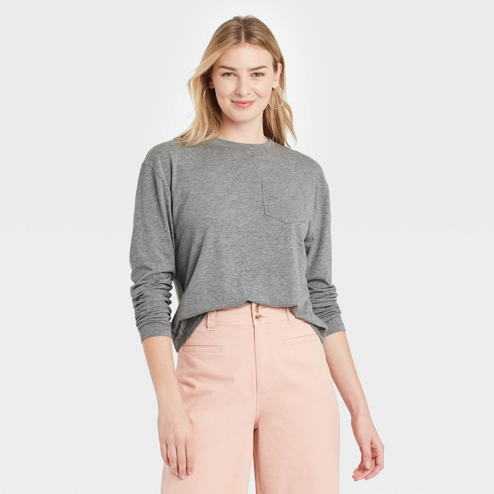 Women 39 S Slim Fit Long Sleeve Round Neck Pocket T Shirt A New Day 8482 Heather Gray Xl