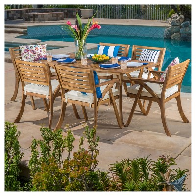 Hermosa 7pc Acacia Dining Set   Teak Finish   Christopher Knight Home :  Target