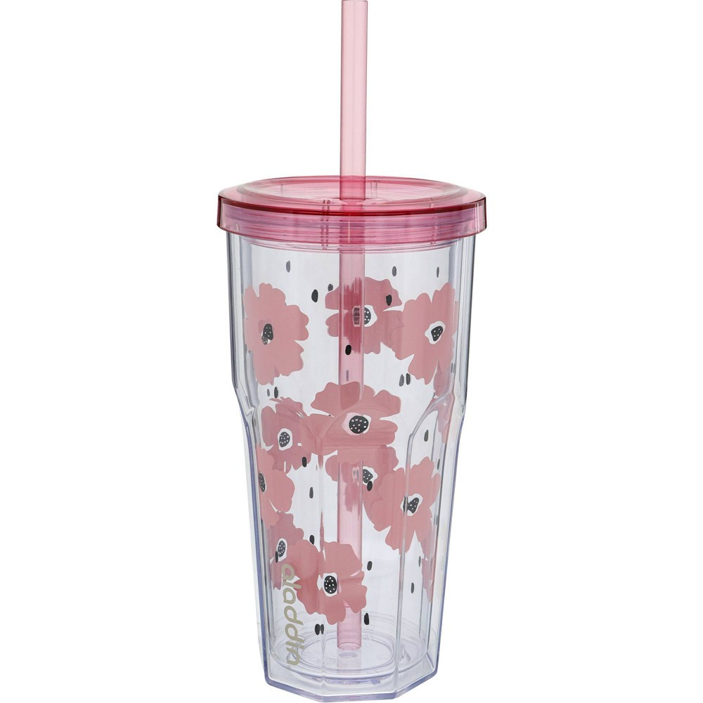 Image of Aladdin 20oz Plastic Pink Floral To-Go Tumbler