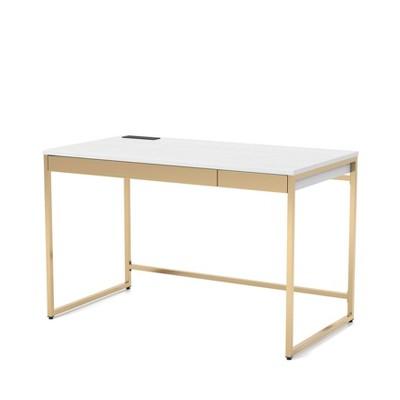 Paylen 2 Drawer Desk with USB Port White/Copper - miBasics