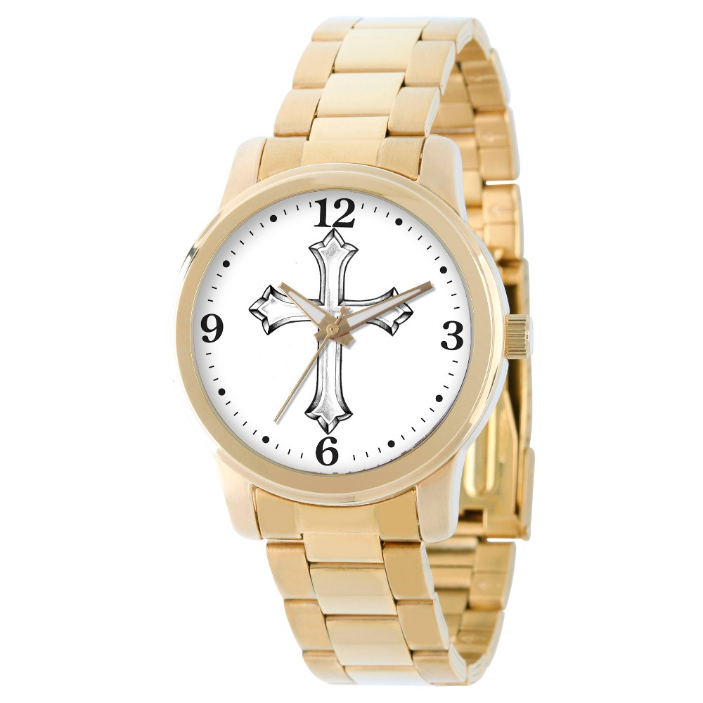 Men's eWatchfactory Cross Religious Bracelet Watch - Gold