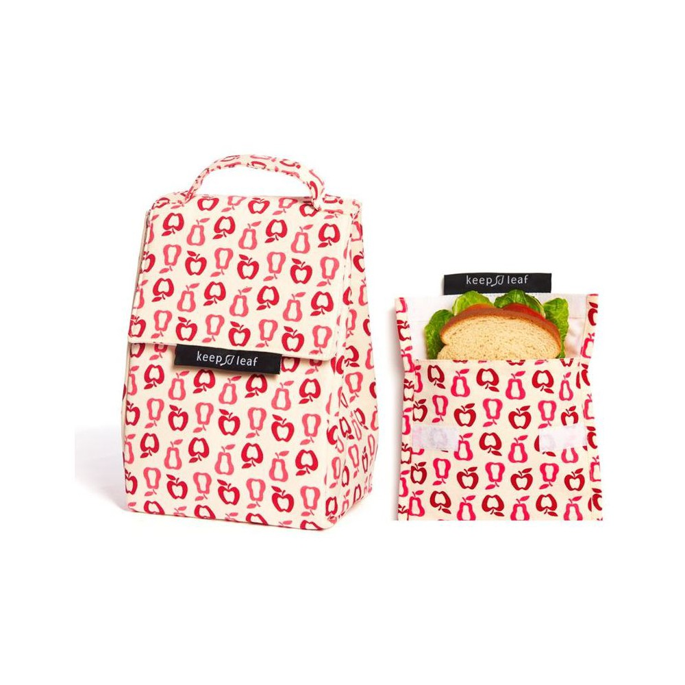 Image of Keep Leaf Lunch Bag and Reusable Sandwich Bag - New Fruit, White