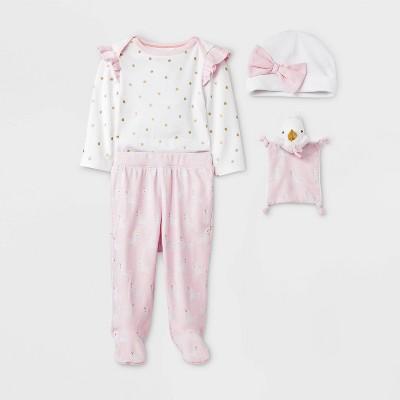 Baby Girls' 4pc Unicorn Layette Gift Set - Cloud Island™ Pink 0-3M