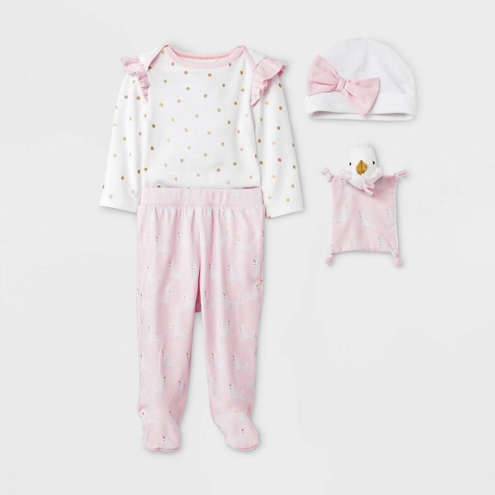 Image of Baby Girls' 4pc Unicorn Layette Gift Set - Cloud Island Pink 0-3M, Girl's, Blue/Pink