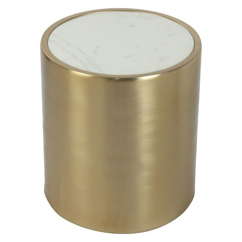 """16"""" Modern Round Faux Marble Accent Table Marble/Brass - ZM Home - image 1 of 4"""