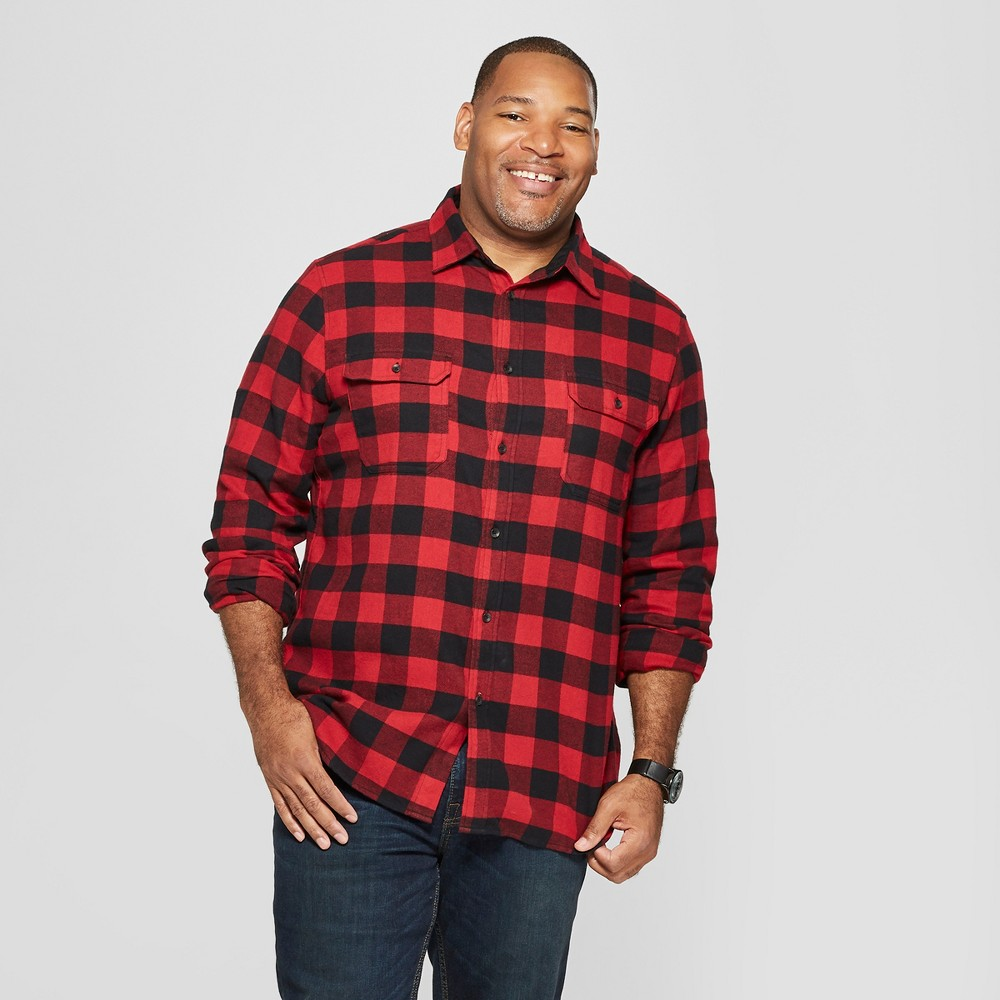 Men's Big & Tall Checkered Standard Fit Flannel Long Sleeve Button-Down Shirt - Goodfellow & Co Ripe Red 3XBT