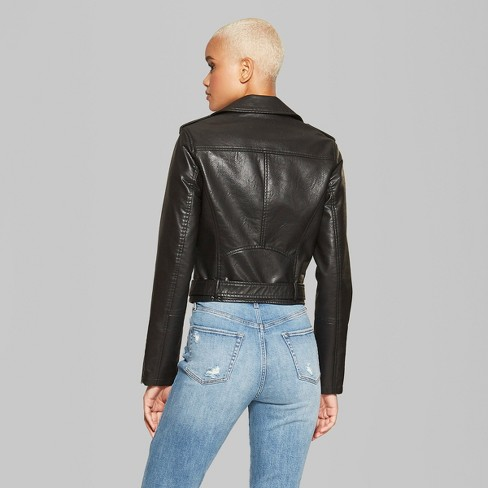 Women S Faux Leather Moto Jacket Wild Fable Black Target