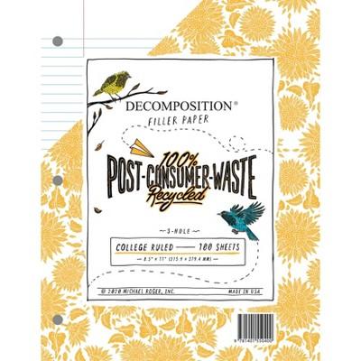 "100 Sheets Loose Leaf Filler Paper College Ruled 8.5""x11"" - Decomposition Book"