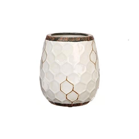 """Raz Imports 5.5"""" Cottage Style Honeycomb Ceramic Vase - White/Brown - image 1 of 2"""